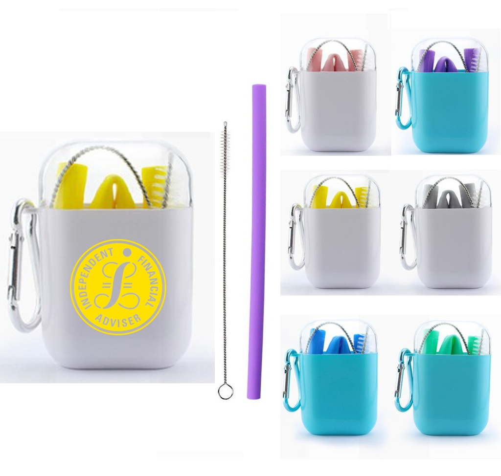 Collapsible Silicone Straw Set W/ Brush. Comes In Handy Case W/ Carabiner