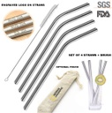 Set Of 4 Stainless Steel Drinking Straws And 1 Cleaning Brush In Gorgeous Jute Gift Pouch