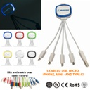Light Up 5-In-1 Mobile USB Charging Cables - W/ Type C