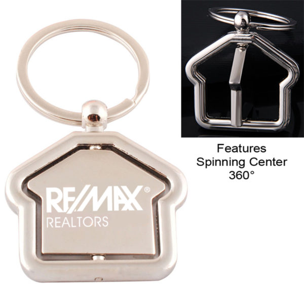 Premium House Shaped Metal Keychain - Rotating Center