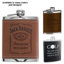 Leather Premium Stainless Steel Hip Flask - 6 Oz