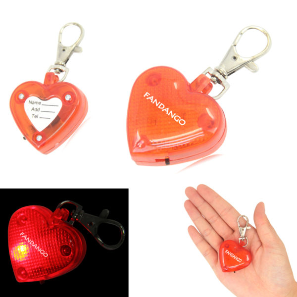 Flashing LED Heart Pet Pendant Keychain