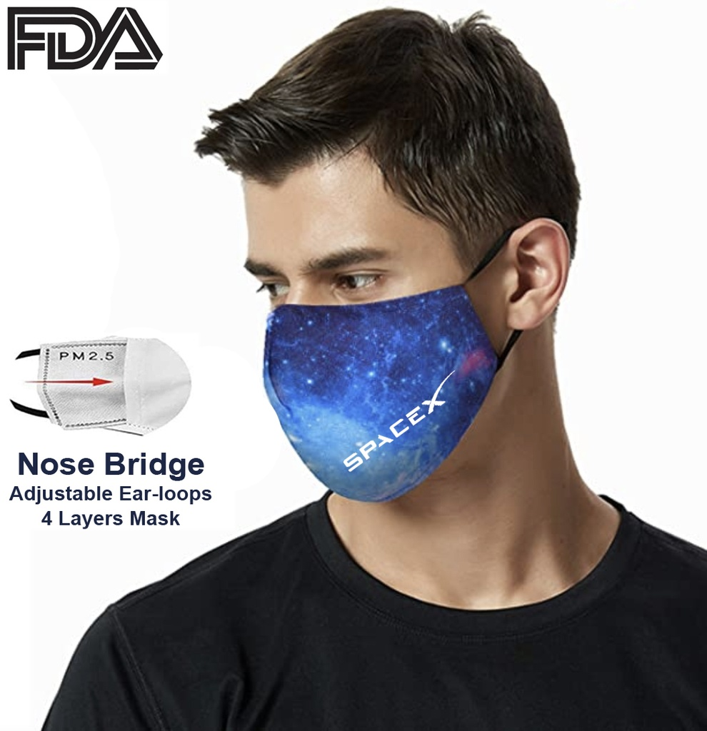 FDA Approved 4 Ply Sublimation Face Mask w/ Carbon Filter