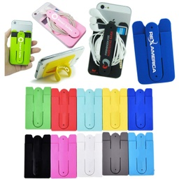 [PH1593] Combo Silicone Cell Phone Wallet & Kickstand