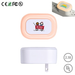 [PWB6980] Candy LED Night Light Dual USB Port Wall Charger - UL Listed